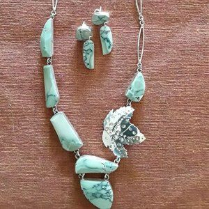 Sterling Modernist Abstract Necklace & Earring Set